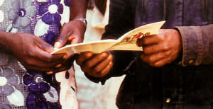 Sharing Kwanja Scripture in Cameroon
